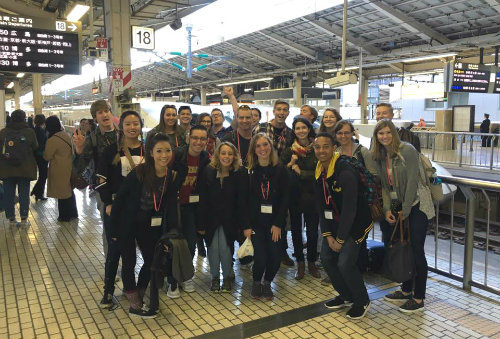 Korbel students at Tokyo train station