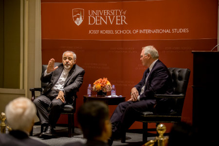 Mohammed Javad Zarif and Dean Hill at event